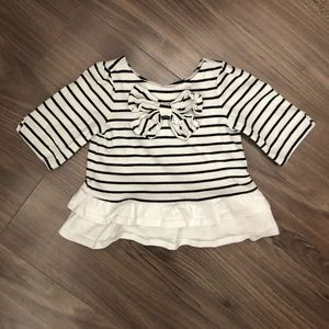 Cute Janie and Jack Bow front Striped Top, SZ 3-6M